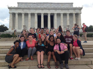 Just Advocacy Week 2015 participants visiting the Lincoln Memorial.
